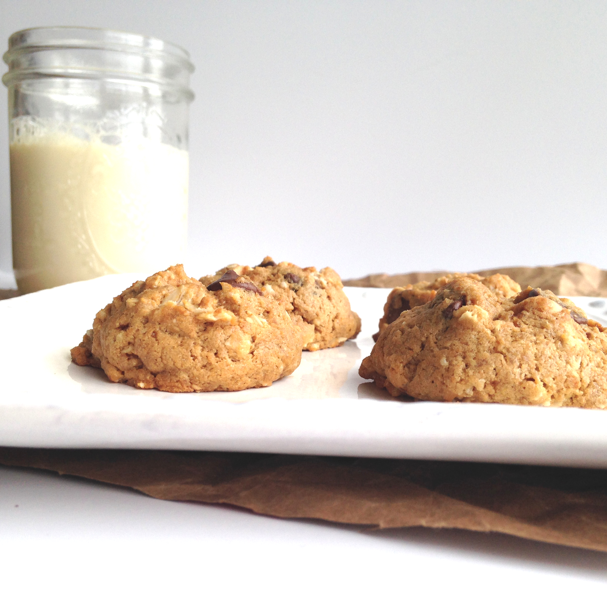 Coconut Oatmeal Cookies with Chocolate & PB Chips {vegan}